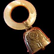 Sterling Silver Teething Ring  Baby Rattle 1928 Monogrammed RLP