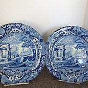 "Pair of Fabulous 10"" Blue Transfer Plates c. 1830"