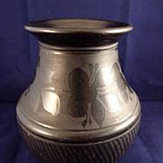 "Hungarian Black Pottery Vase 7"" tall"