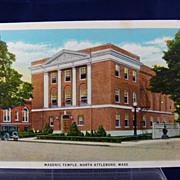 Masonic Temple Post Card North Attleboro Massachusetts Unused