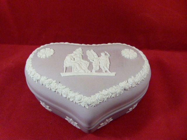 Wedgwood Lilac Jasperware Large Heart Shaped Box From