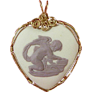 Wedgwood Jasper Ware Heart Shaped Pendant 1977