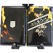 Faux Tortoise Shell, Sterling and Gold Cigarette case and note card - Edwardian