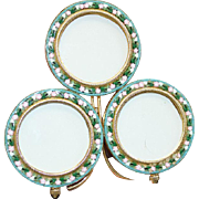 Vintage Round Triple Picture Frame in Millefiori MICRO MOSAIC From Italy- Pristine Condition -