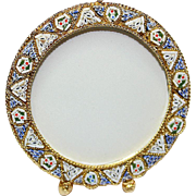 Vintage Micro mosaic Round Picture Frame No 12 New Old Stock Pristine Rare
