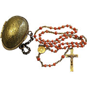 Vintage Coral and Vermeil Catholic Rosary with Antique Vermeil Egg Shaped Chained Box – Very