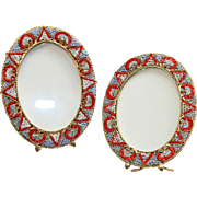 Vintage Millefiori Micro Mosaic PAIR of Big Oval Photo Frames New Old Stock Pristine Rare
