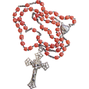 Vintage Coral and Sterling Catholic Rosary in Sea Shell box – Very Rare - Attractive and ...