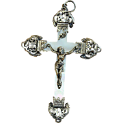 Late 19th Century French Mother of Pearl and Sterling Silver Cross - Crucifix with stylized I