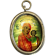 XIXth Century Russian Mini Icon – Our Lady of Kazan – in Sterling Medallion Frame ...