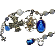 Early 1900's M.O.P and Sterling Rosary Bracelet with Very Rare Sterling Silver and ...