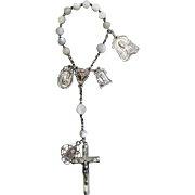 End 19th Century M.O.P and Sterling one Decade First Communion Rosary Chaplet with ...