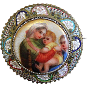 Edwardian Unique Micro Mosaic Brooch with Fine Miniature Hand Painting on Porcelain – Very .