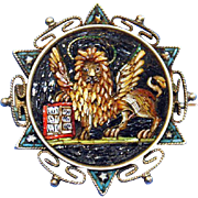Mid 19th Century Silver High Detail Micro Mosaic Brooch St. Mark's Lion – Extreme Rarity