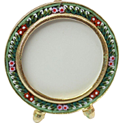 Vintage Micro mosaic Round Small Picture Frame New Old Stock Pristine Rare