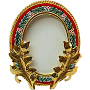 Vintage Micro mosaic Unusual Oval Picture Frame New Old Stock - Pristine - Rare