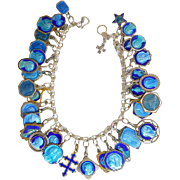 Vintage Sterling Silver Charm Bracelet with 33 Rare Pristine Religious Medals Enameled on Both