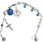 Early 1900's M.O.P and Sterling Silver Rosary Bracelet with Very Rare Sterling Silver ...