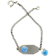 1950's Communion Sterling Silver Rosary Bracelet with Enamel Sterling Medal Charm