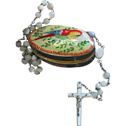 Vintage MOP and Sterling Catholic Rosary in Hand Painted Shell and Metal Box – V ...