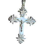 Rare - Very Early Art Nouveau Mother of Pearl and Sterling Silver Cross - Pendant First ...