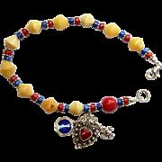 Catholic Rosary Bracelet Rosenkranz Vintage Butterscotch Amber Lapis Coral and Vintage Sterlin