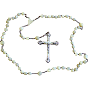 1920's Vintage Mother of Pearl and Sterling Silver Catholic Rosary Large and Impressive