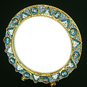 Vintage Micro mosaic Round Picture Frame No 5 New Old Stock Pristine Rare