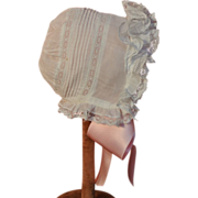 Handsewn lace bonnet with pintucks and feather stitching Excellent!