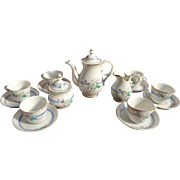 Doll sized coffee tea service for 6; blue band with pink roses and flowers