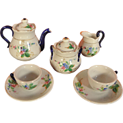 Blue Handled Small Doll Sized Coffee Service