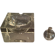 Heavy Crystal-Block Glass Ashtray and Glass Lighter