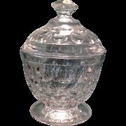 "Flint Glass ""Thumbprint Variant"" Pattern Covered Sugar Bowl"