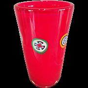 Italian Deep Red Glass Vase