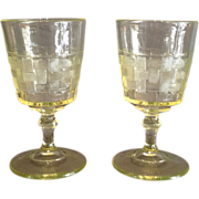 "Pair of Vaseline ""Basketweave"" Pattern Goblets"