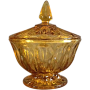 Amber Glass Covered Candy Jar
