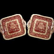 "SALE Mason's Vista Ironstone 10"" Square Handled Cake Plate in the Vista-Pink pattern"