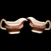SALE Franciscan Pink Vista Mason's Pattern Gravy Boats - Ironstone Red Transferware