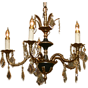 Beautiful Brass and Crystal Chandelier with Black Accents
