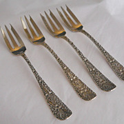 Set of 4 Sterling Fish Forks-Black, Starr & Frost, ca 1870's-Bright Cut