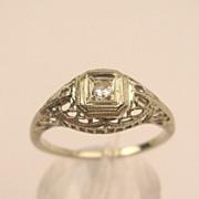 SALE SALE!!  Art Deco 18K Diamond Filigree Ring c.1927