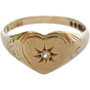 English 9K Gold Diamond Signet Ring-Heart Shaped