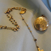 SOLD Sweet Locket Case and Rosary Great for French Fashion Trunk or Chatelaine
