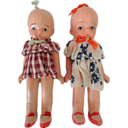 Pair 40s Japan All Bisque Girls, Never Played With