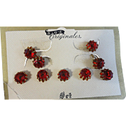 Red Rhinestone Buttons + Cufflinks All on Original Card