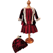"Sweet Wine Colored 2 Pc Dress w/Bonnet for 14"" Doll"