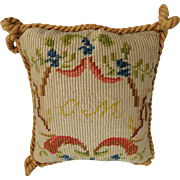Stunning Hand Made Petitpoint Pillow for a French Fashion Doll Room