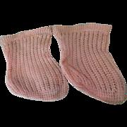 """SALE PENDING Pair Pink Jumeau Socks 2 1/2"""" Foot"""