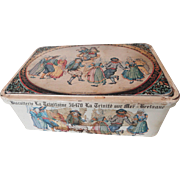 SALE French Biscuit Tin Decorated w/Quimper Dancers