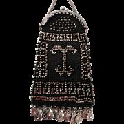 Lovely Black Doll Purse w/Steel Cut Beads Design